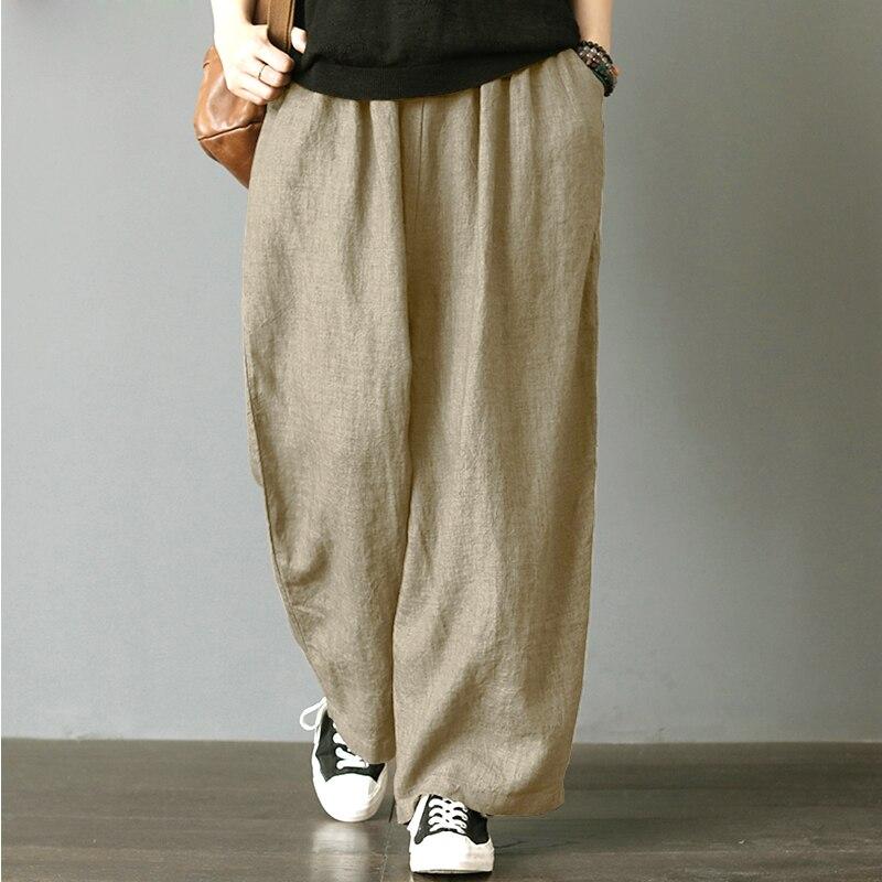 2018 Autunm Harem   Pant   Hemp Bloomer Plus Size M-5XL 6XL Loose Women Trouser cotton Linen Pleated Oversize Pockets   Wide     Leg     Pant