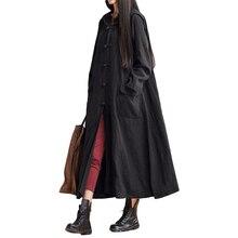 المرأة خمر فضفاض س الرقبة طويلة الأكمام مقنعين فستان ماكسي معطف طويل سترة السيدات عادية حجم كبير بلون جيوب سترة