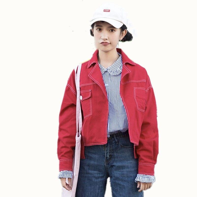 Automne femmes Denim veste 2018 nouveau lâche Cowboy sauvage veste costume col poche décoration à manches longues court Denim vestes Z126