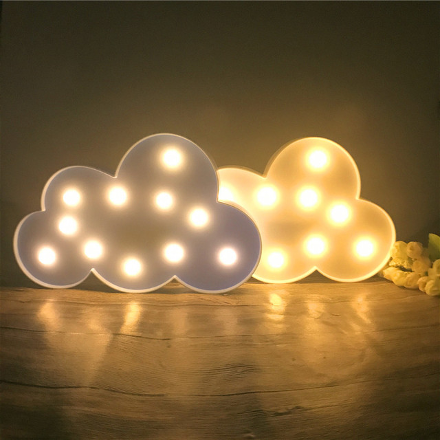 Merveilleux 11 LED Lovely White/Blue Cloud Night Light Warm White Table Lamp Marquee  Battery Operated
