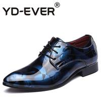 Fashion Blue Men Wedding Shoes Pointed Toe PU Leather Shoes Man Plus Size 12 13 14 For Party Shoes 4Colors Silver Red