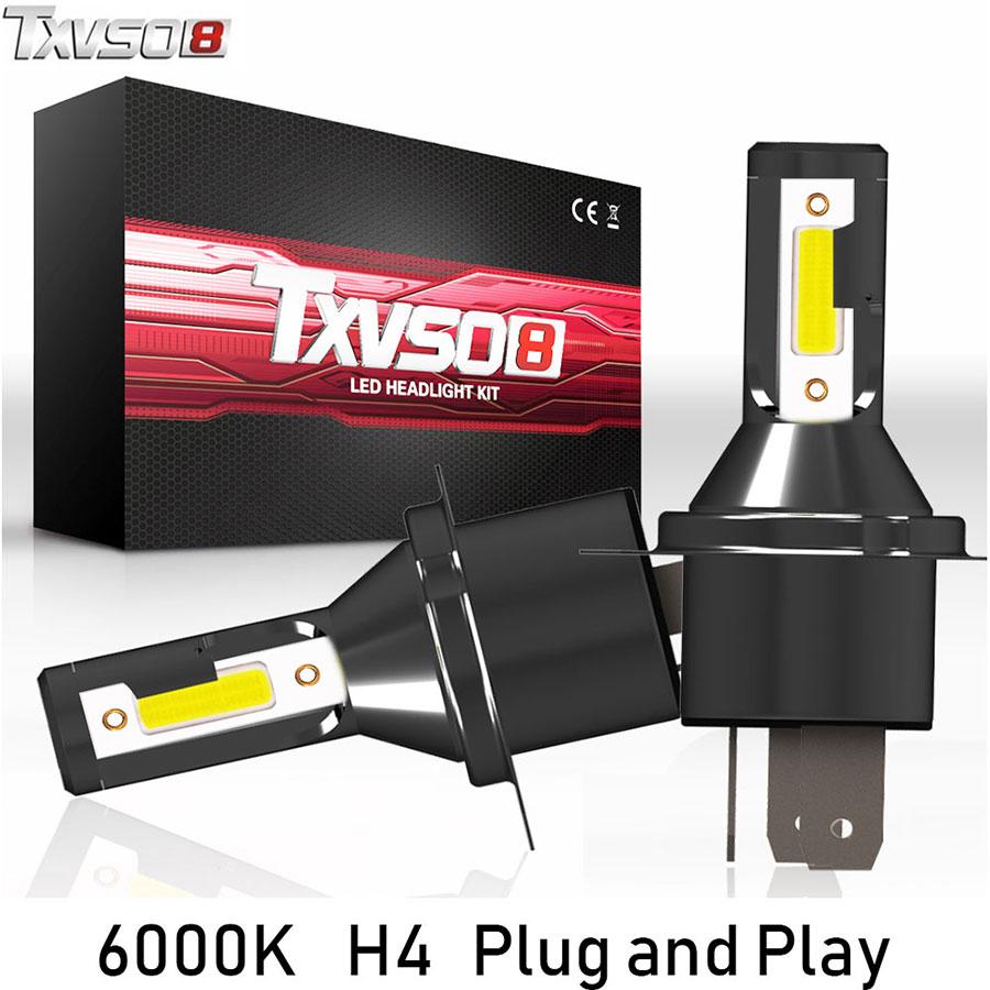 TXVSO8 2PCS H4 LED Car Light Bulbs Flip COB Chips 13000LM 6000K bombilla Led Fog Headlight Bulb 55W Auto ampoule Front Headlamp