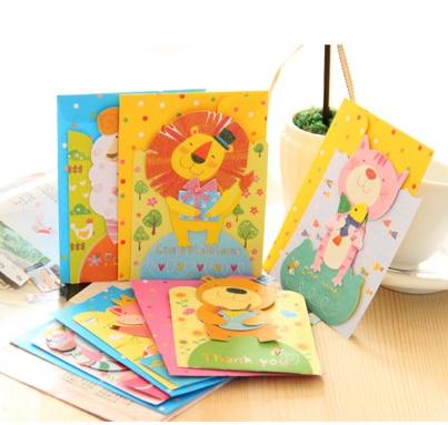 Handmade Animal Pop Up Cards For Greetingthinksgivingmessage Cute Kids Birthday