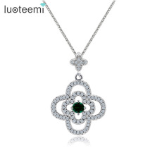 LUOTEEMI Girls Fully Tiny CZ Paved Lucky Clover Flower Pendant Necklaces For Women Wholesale White Gold Plated Fashion Jewelry