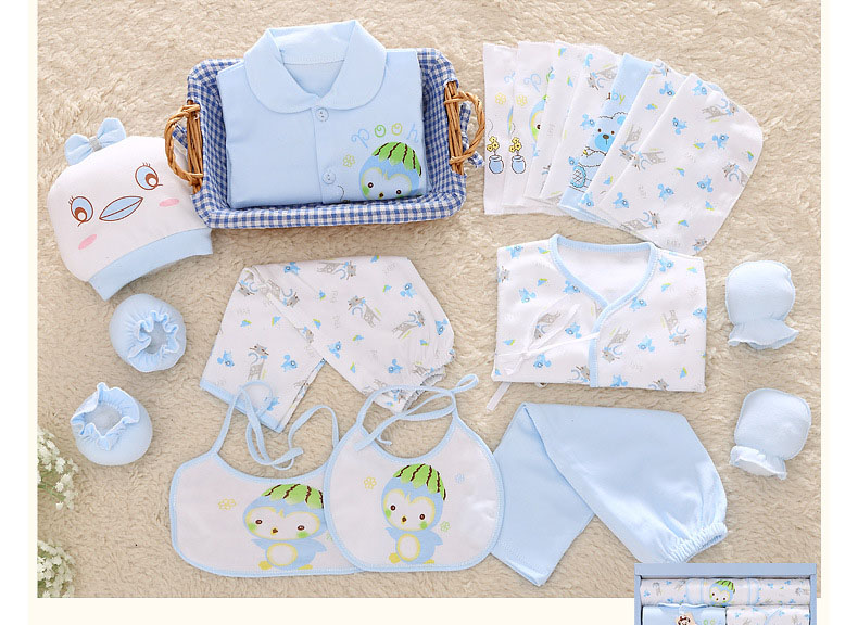 18 Pcs Set Cotton Newborn Baby Girl Clothes Cartoon Print Baby Boy Clothing Set for New