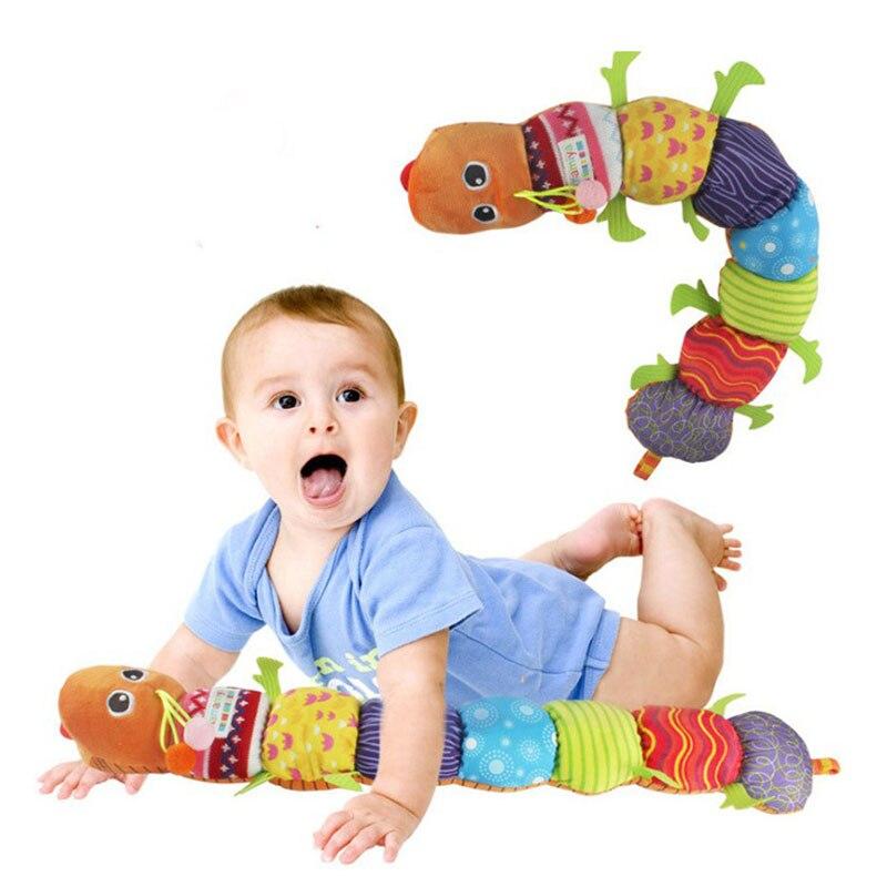Музыкальный материал игрушки Caterpillar с кольцом Bell детские игрушки милый мультфильм животных плюшевые куклы раннего обучения образования Kid ...