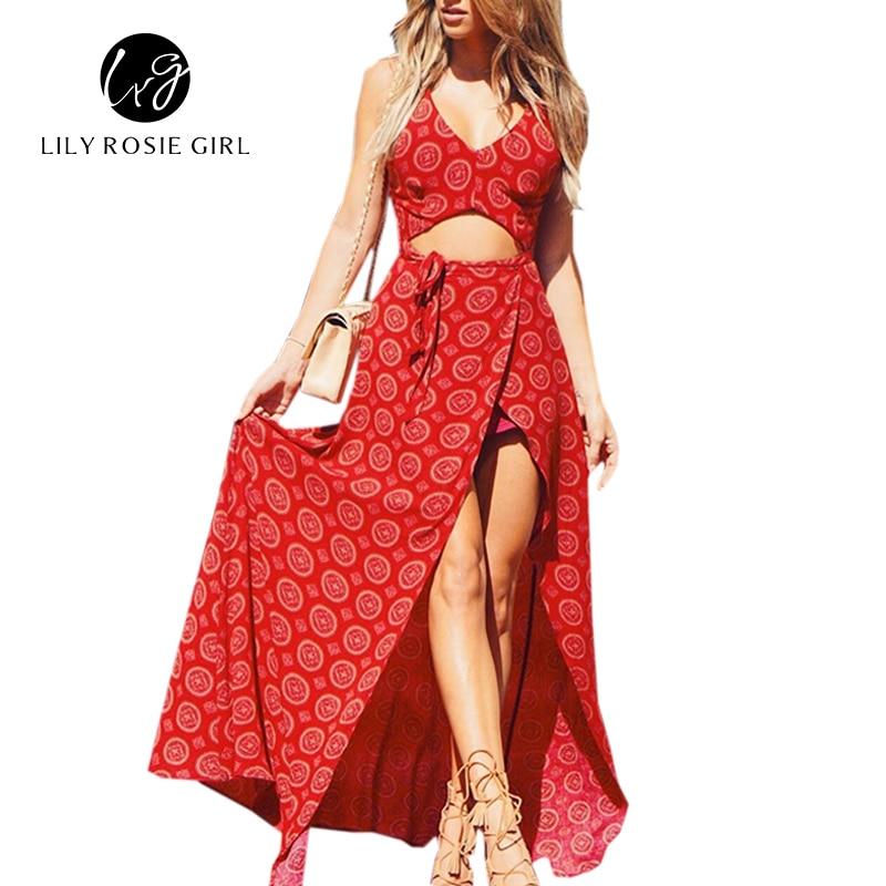 Sexy Hollow Out Sleeveless Elegant Print Red Maxi Dress Women Summer Side Split Sundress 2016 Beach