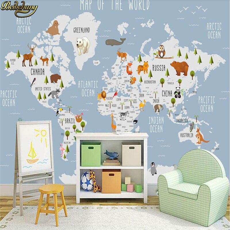 Купить с кэшбэком beibehang Cartoon world map photo wallpaper for Children's room Coffee painting 3D mural wallpapers for living room decoration