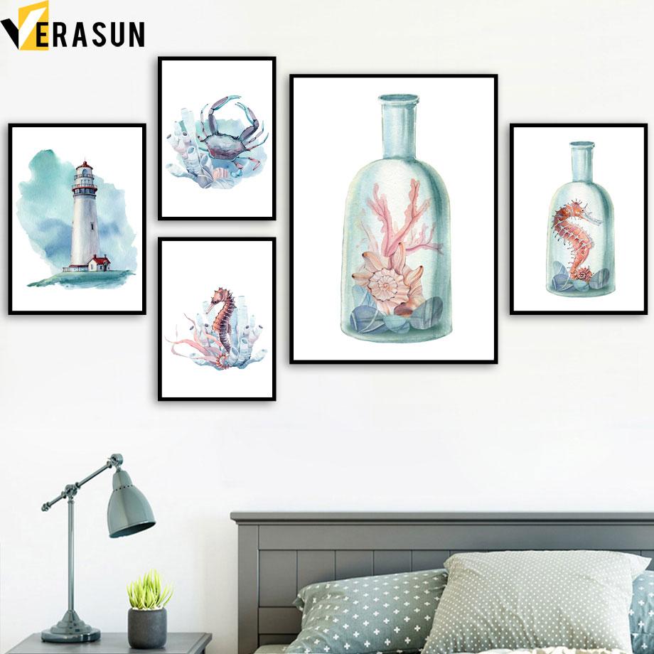 VERASUN Coral Crab Sea Horse kunst aan de muur Canvas schilderij - Huisdecoratie