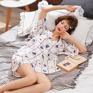 Image 3 - 2020 New  Sleepwear Ladies Summer Pure Cotton Short Sleeve 2pcs Thin  Summer Pajamas Set Pajama Sets Women