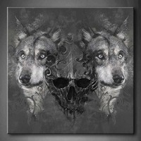 Framed Wall Art Pictures Wolf Human Skeleton Canvas Print Artwork Animal Modern Poster With Wooden Frame For Living Room