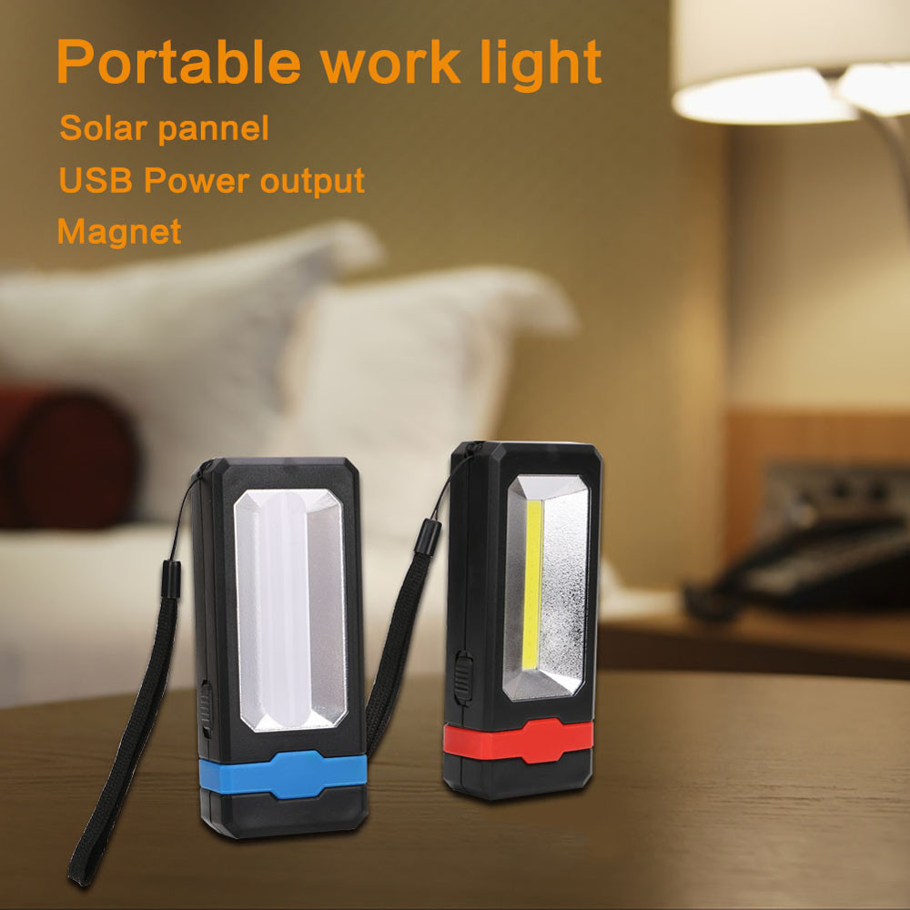 COB Solar LED Rechargeable Work Light Magnet Flashlight Torch