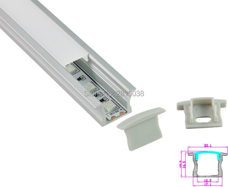 10 komplekti / partijas T stils Anodēts SilverLED alumīnija profils AL6063 Alumīnija vadīts profils LED kanāls profils padziļinātai grīdas gaismai