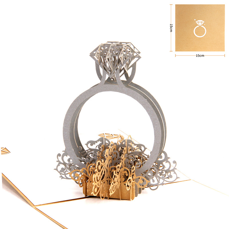 Gold Laser Cut 3d Ring Pop up Wedding Invitations Romantic Handmade Valentines Day for Lover Postcard Greeting Gift Card New