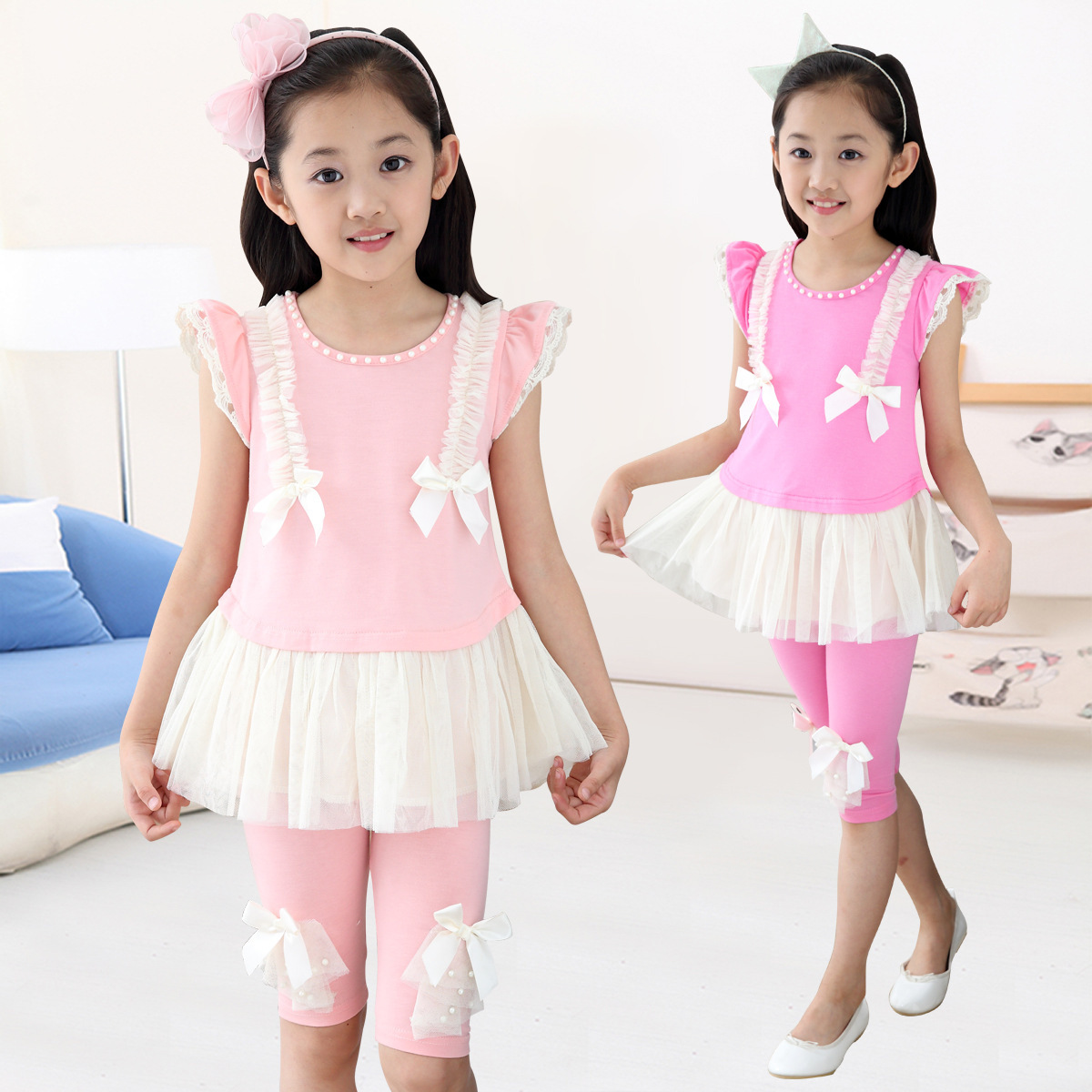 Kids Girls Summer New Bow Children Two Piece Suit Cotton Short Sleeved T-shirt Kids Clothing Sets Pink Rose Red