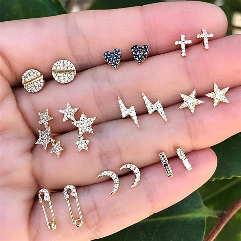 Female Bohemian Crystal Earrings Round Cross Lightning Heart Shaped Stars Moon Gold Square Earring Honeymoon Party Jewelry