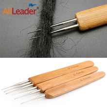 Alileader Cheap 3pc/Set 0.5mm 1/2/3 head Bamboo Hair Weaving Crochet Needles Dreading Hooks Dreadlock Tools for Braid Craft