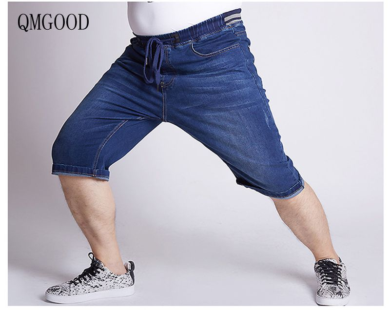 QMGOOD Summer Large Size Elastic Waist Men's Denim Shorts Fashion Jeans Cotton Breathable Casual Shorts Dark Blue Light Blue 5XL wangcangli jeans women shorts light blue large size denim fat sister elastic waist mid waist jeans moustache effect summer 4xl