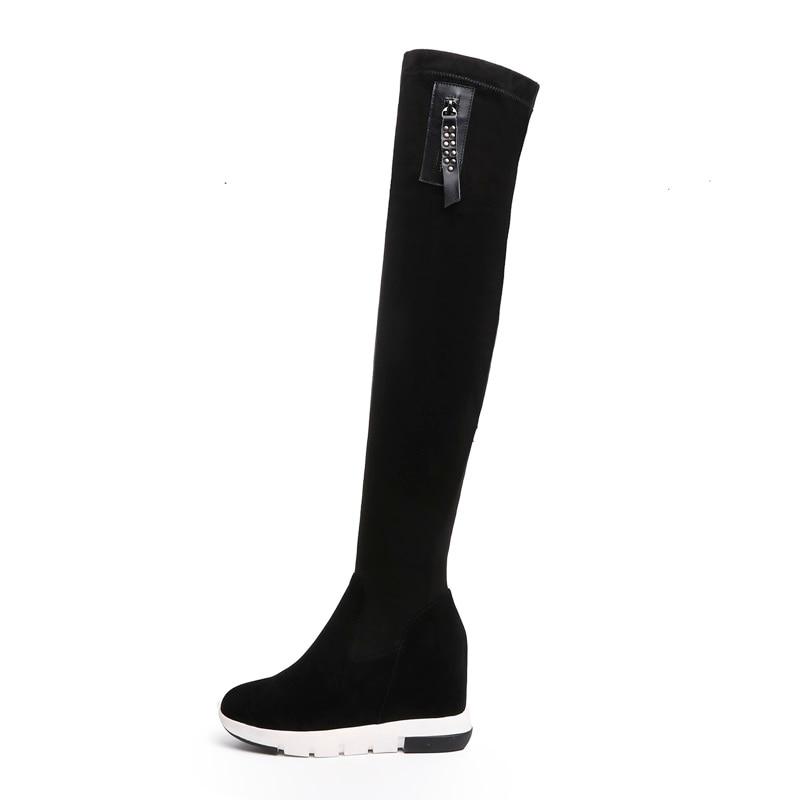 À Zipper Cuissardes Pour Black Noir Concise Rond Zvq 2018 Peluche Chaussures Bout Femmes Chaud New Coins Haute Offre En Plateforme Super Spéciale D'hiver nO7OxqfzB