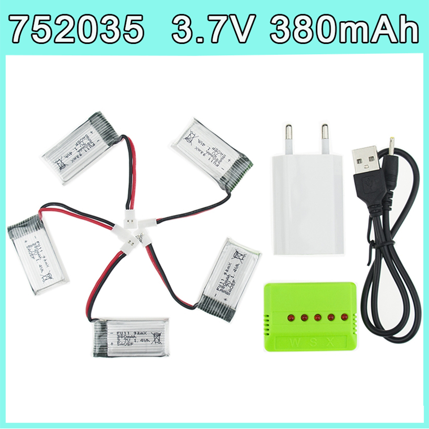 5pcs <font><b>3.7V</b></font> <font><b>380mAh</b></font> <font><b>LiPo</b></font> <font><b>Battery</b></font> with X5 charger EU plug set For Hubsan X4 H107 H107L H107D JD385 JD388 RC Helicopter Drone 752035 image