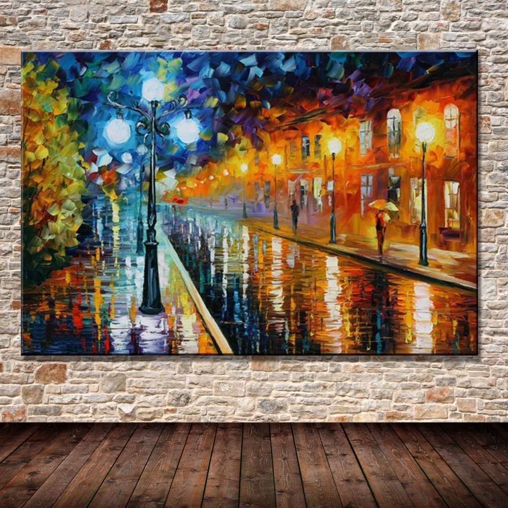 3 Piece Painting On Canvas Wall Art Nyc Street Lights New: 100% Hand Painted Free Shipping Colorful Oil Painting On