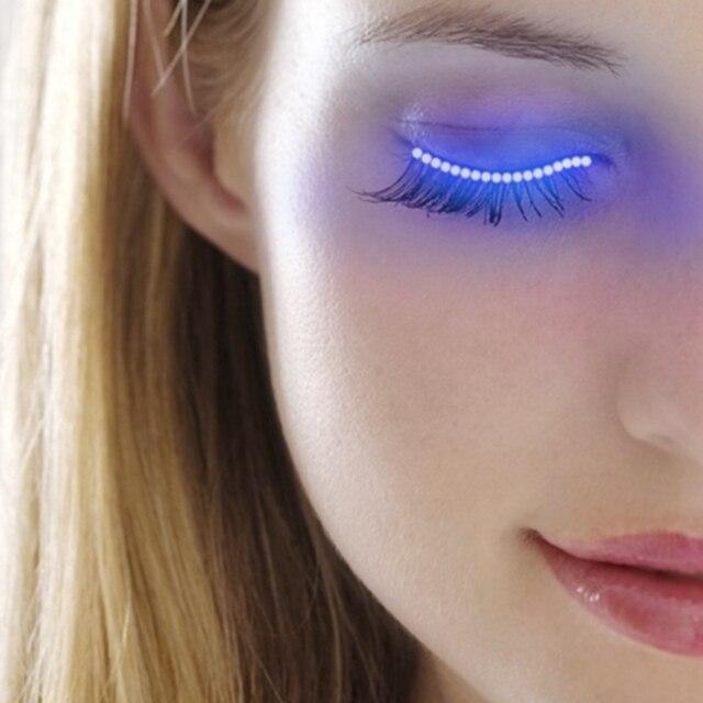 6ba9bc94d5e LED Eyelashes Eyelid False Eyelashes Unisex LED Light Eye Lash Luminous  Shining Eyelash Party Bar Cosplay Makeup Eye Lash Eyelid