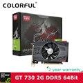 Colorful NVIDIA GeForce GT 730 GPU 2GB DDR5 64bit DVI+VGA+HDMI Port PCI-E X16 2.0 Video card Graphics Card for computer desktop