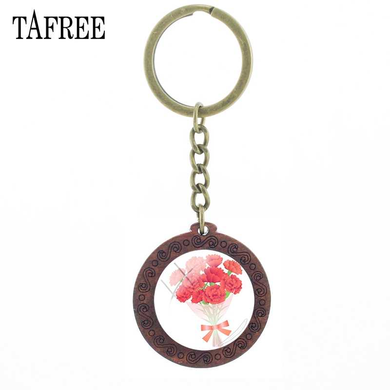 Tafree chaveiro de madeira do vintage jóias bonito rosa cravo flor cúpula de vidro chaveiro moda artesanal chaveiro titular kl77