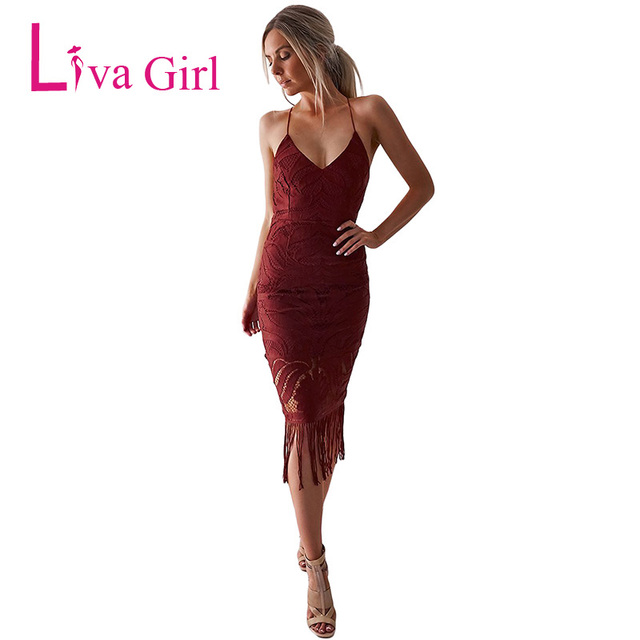9835807e4189 LIVA GIRL Women Sexy Backless Lace Midi Dress Summer Halter V Neck Tassel  Fringe Dresses Ladies Spaghetti Strap Lace Up Vestidos