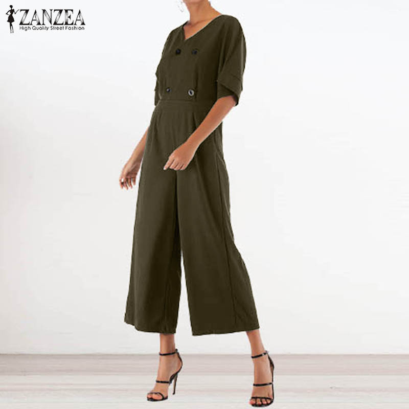 S 5XL ZANZEA Summer Casual Loose Jumpsuit 2019 Elegant Work Office Long Rompers Women Solid Short Sleeve Wide Leg Overalls Femme