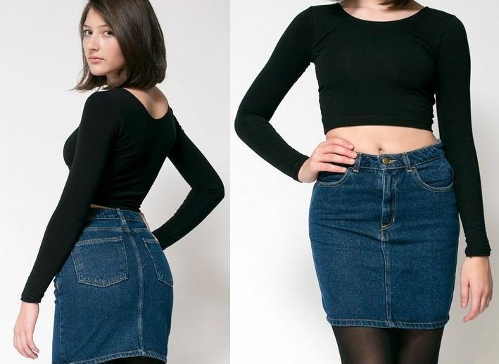 fanshion american apparel aa high waist denim skirt