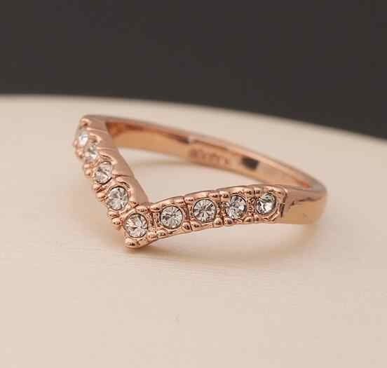 nj26 New fashion jewelry gold color heart finger ring for women ladie's wholesale nickel free