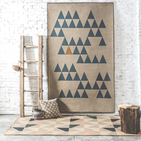 Natural Jute Material Triangle Geometric Abstract Pattern Living Room Bedroom Carpet Rectangle Non Slip Tea Table