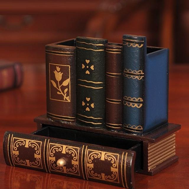 Retro Books Style Wooden Desktop Organizer