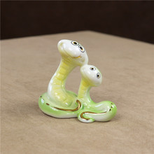 Porcelain Viper Lovers Figurine Ceramic Snake Miniature Craft Ornament Accessories for Valentine's Day Gift and Wedding Decor
