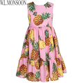 W.L.MONSOON Girl Summer Dress 2017 Brand Children Party Dresses Pineapple Print Robe Enfant Princess Layered Dress Kids Costumes
