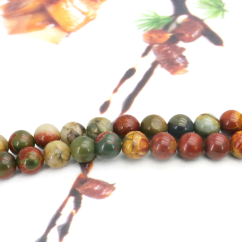 Wholesale!Multicolor picasso round loose beads 6mm 15 inches DIY stone jewelry suitable for making bracelets necklace design