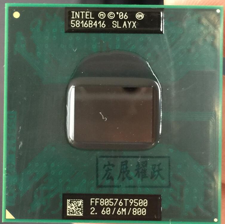 Processeur pour ordinateur portable Intel Core 2 Duo T9500 processeur pour ordinateur portable CPU PGA 478 CPU 100% fonctionnant correctement