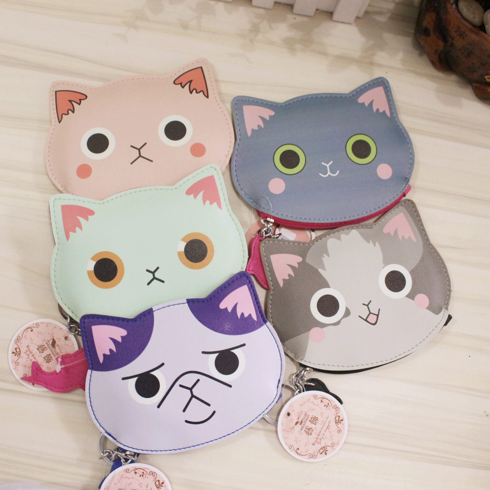 2017 Creative Cute Cartoon Coin Purse Key Chain For Girls Leather Lovely Cat Kids Zipper Handhold Change Wallet Card Holder new cute hello kitty handbag pink red girls purse cartoon cat coin bag ladies keychain wallets zipper key holder cash case