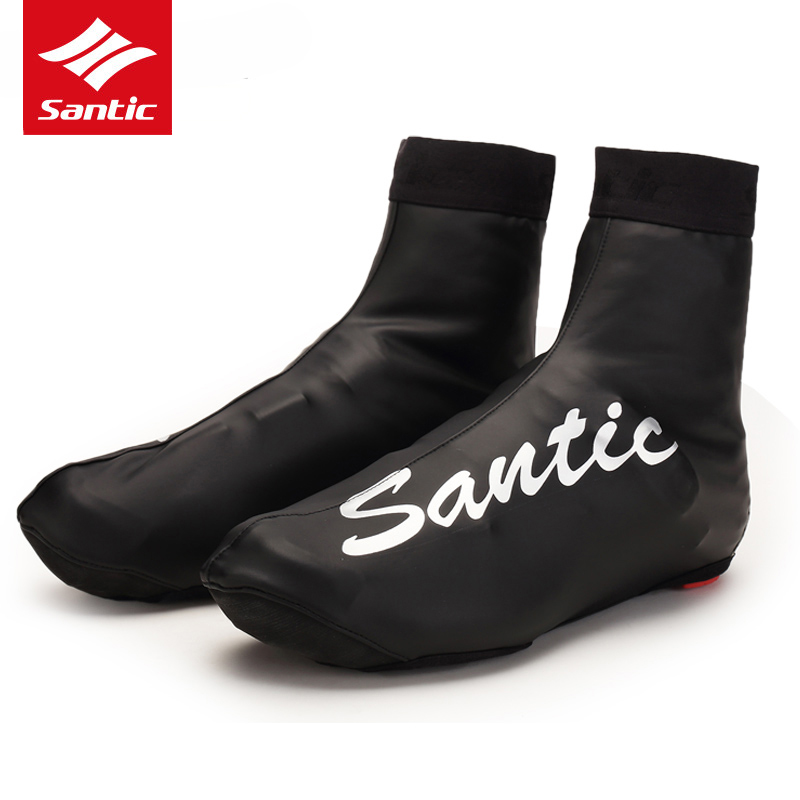 Santic PU Leather Winter Cycling Shoes Cover Waterproof Windproof Fleece Warm MTB Road Bike Bicycle Cycling Shoe Cover Overshoes