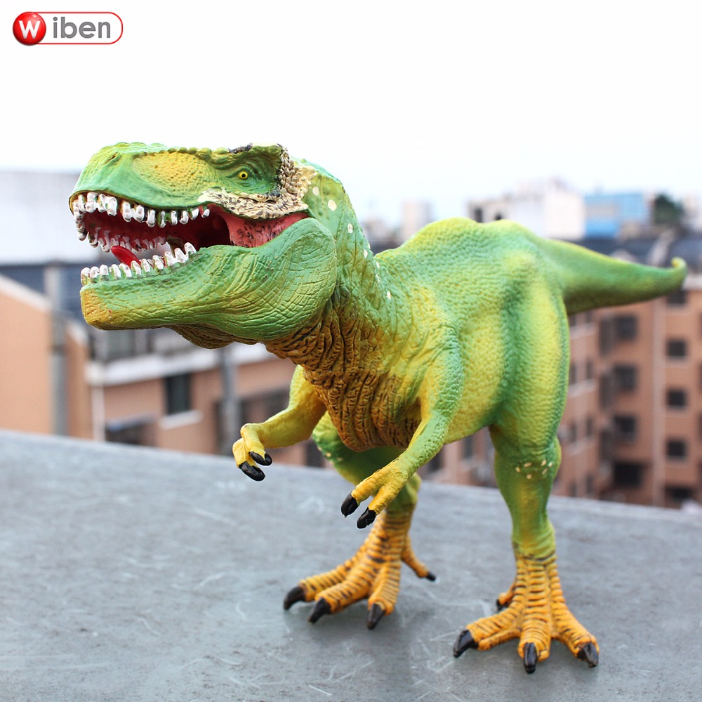 Wiben Jurassic Tyrannosaurus Rex T-Rex Dinosaur Plastic Toy Animal Model Action & Toy Figures Kids Education Toys Gifts For Boy wiben 3pcs jurassic triceratops tyrannosaurus rex parasaurolophus cub model dinosaur toys action toy figures collection gift