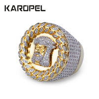 Karopel Hip Hop Ring Iced Out Micro Pave CZ Jesus Cuban Rings Women & Men Gold Ring For Love Gift DropShopping