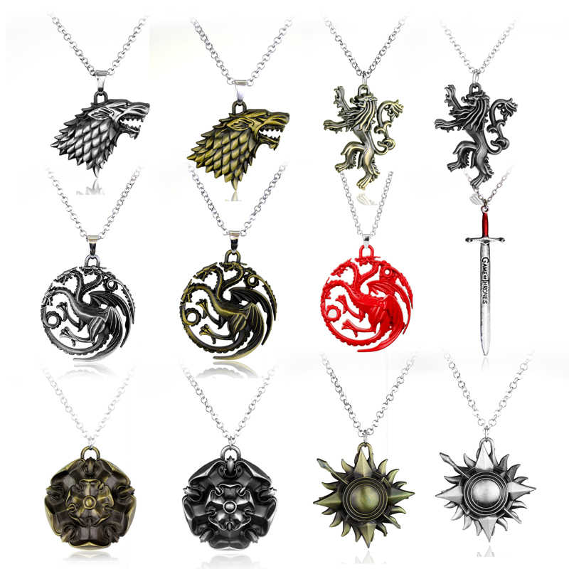 Movie Jewelry Necklace Game of Thrones Stark family lion wolf dragon Pendant Necklaces Men Women collares souvenir
