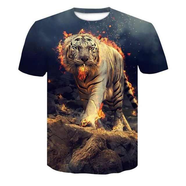2019 Yeni Kurt 3D Baskı Hayvan Serin komik tişört Erkek Kısa Kollu Yaz Üstleri T Shirt Tişört Erkek Moda T-shirt Male4XL