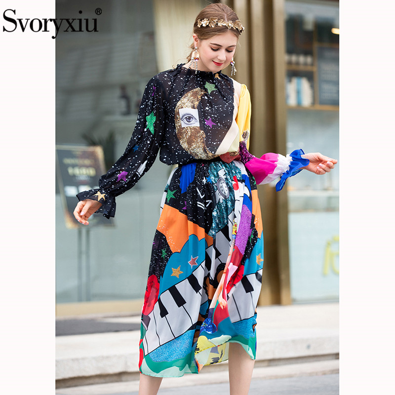 Svoryxiu 가을 여름 패션 활주로 치마 정장 여성 별이 빛나는 하늘 천사 인쇄 블라우스 + 롱 스커트 캐주얼 두 조각 세트 2019-에서여성 세트부터 여성 의류 의  그룹 3