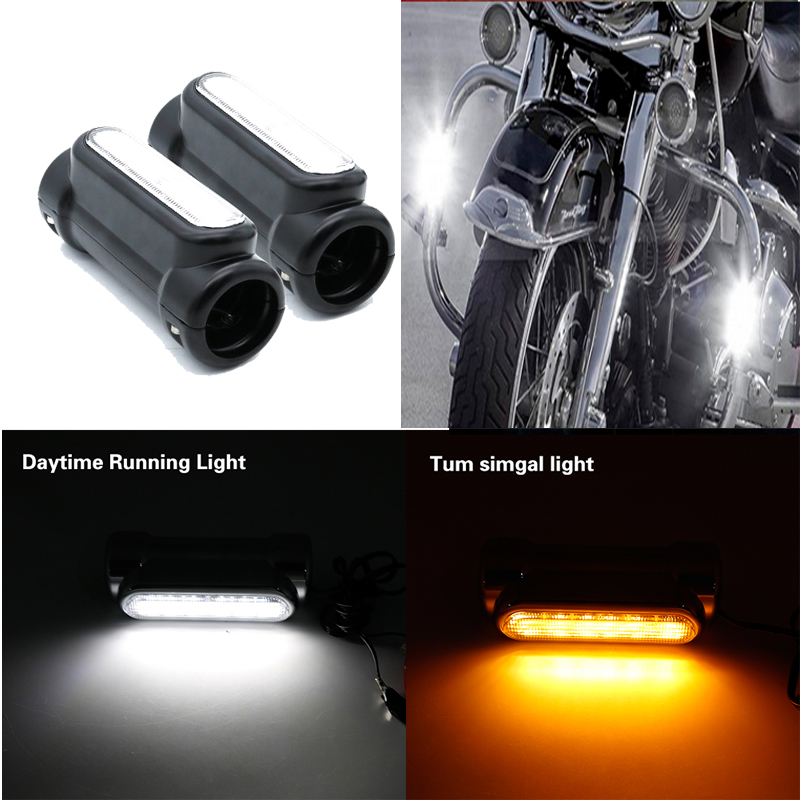 Motorcycle Highway Crash Bar Light Switchback Driving Light For Victory Harley Touring Chrome White Amber LED For Crash Bars