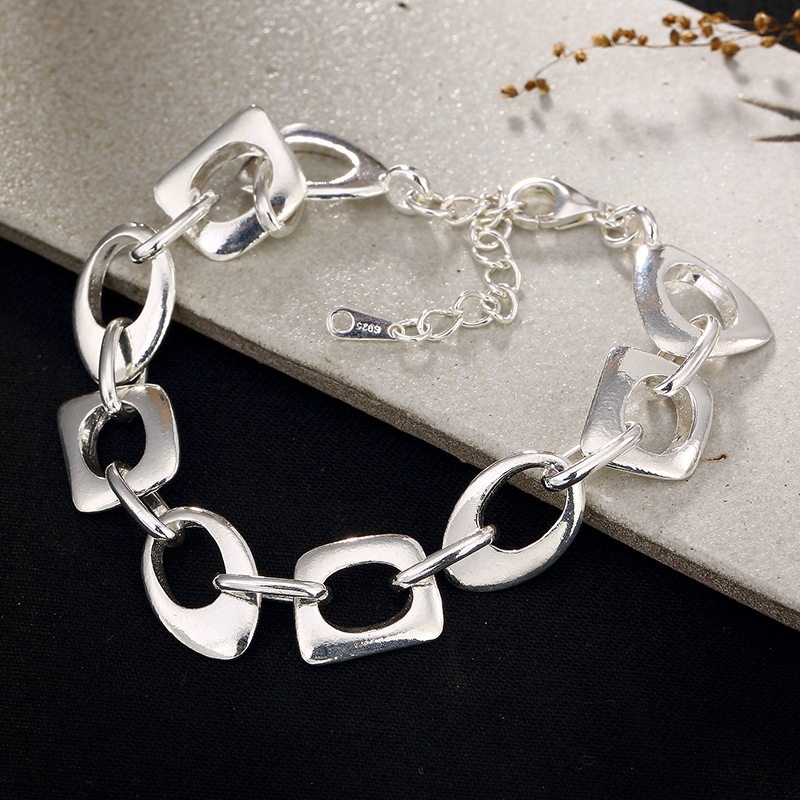 100% Genuine 925 Sterling Silver Charm Bracelets High Quality Silver Personality Irregular Hollow Bracelets For Women-in Charm Bracelets from Jewelry & Accessories    1