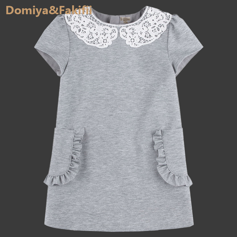 2018 Brand Autumn Knitted Dress For Girls Grey Dress With Lace Neck Kid Clothes Cute Children Dress Brand Princess Party Toddler grey lace details stripe round neck cami