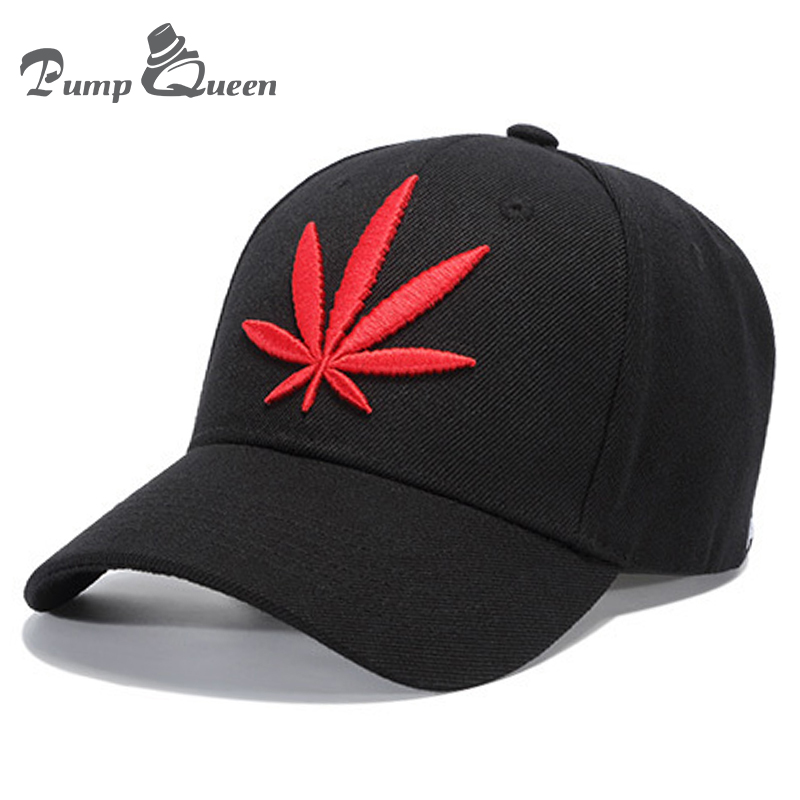 Pump Queen 2018 New Black Baseball Cap Red Hemp Leaf Embroidery Hats Couple Men Hip Hop Snapback Hat Women Hat Summer Sport Caps letter embroidery dad hats hip hop baseball caps snapback trucker cap casual summer women men black hat adjustable korean style