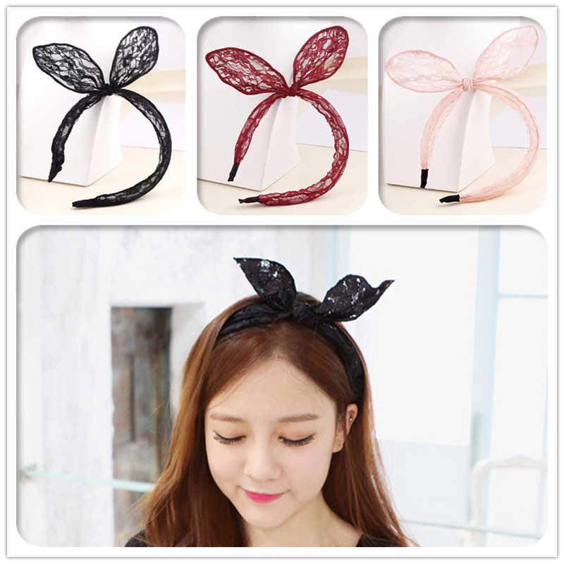 1 PC Wanita Rambut Hoops Hitam Renda Telinga Kelinci Headband Untuk Anak Perempuan Perempuan Rambut Busur Rambut Aksesoris Ornamen Headwear Grosir